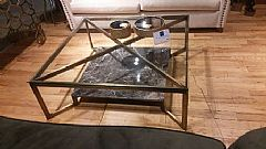 Cross Marble Coffee Table with Glass